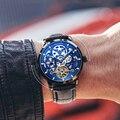 AILANG Original Top Luxus männer Automatische Mechanische Uhr Hohl Getriebe Sport 50M Wasserdichte Uhr Leder Business Schweizer uhr