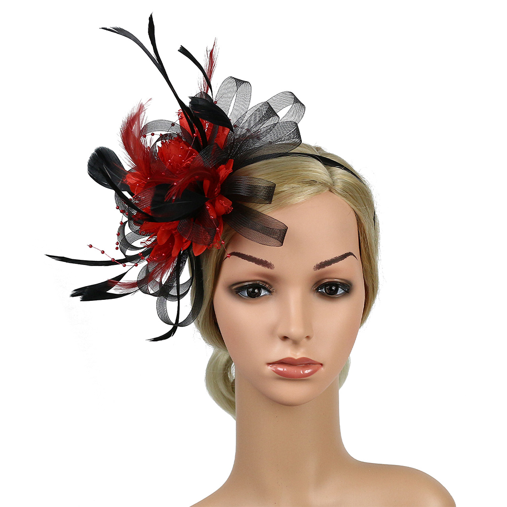 4d75419132ae Fedoras Cocktail Bowknot Wedding Feather Mesh Banquet Derby Day Women Gift  Bridal Party Hat Fascinator Headband