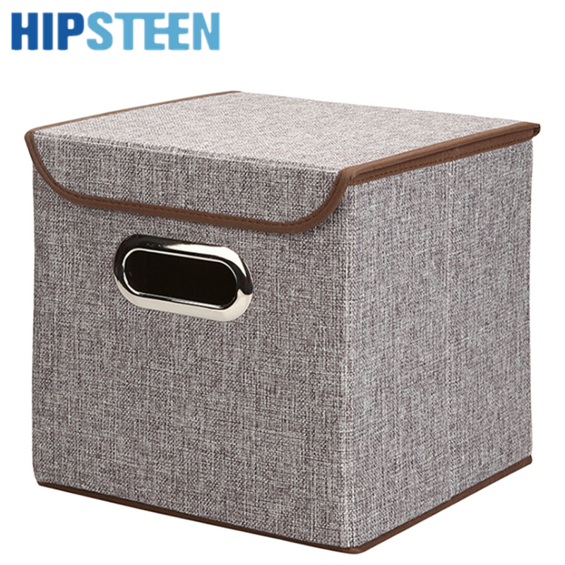 HIPSTEEN Simple Design Storage Box Foldable Thickened Home Sundries  Organizer With Lid(China)