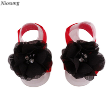 Fashion Baby Infant Soft Handmade Flowers Snow Imitation Pearl Diamond Buckle Foot Flower Kids Gift wholesale