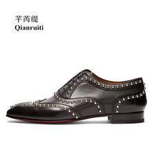 8b759f1a2110 Qianruiti Men Split Leather Shoes Black Oxfords Silver Studs Business  Wedding Flat Handmade Lace-up Men Dress Shoes Size39-46
