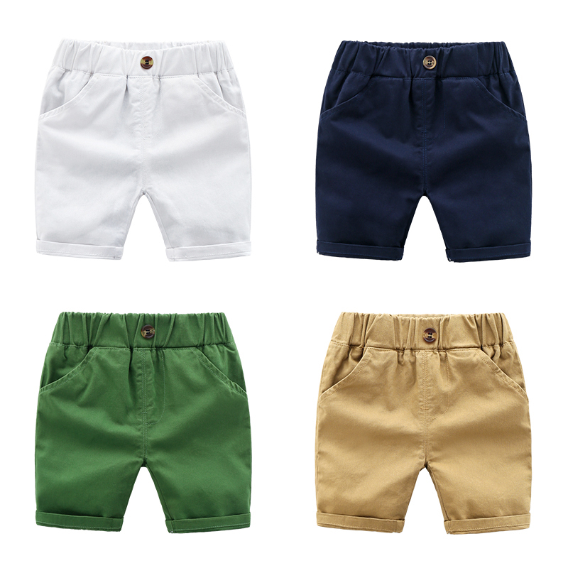 DE PEACH 2020 New Kids Casual Pants For Baby Boys Shorts Summer Cotton Children Shorts Solid Color Baby Boys Clothes Size 90-130