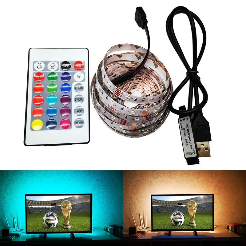 TV LED Strip Light USB 3528 SMD DC 5V/6V Cable Power Chandelier Night Lamp Desktop PC Screen Backlight RGB 0.5/1/2/3/4/5M