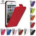 Lujo retro Crazy caballo pu cubierta de cuero magnético hebilla vertical Flip para iPhone 4 4S 5 5C se 5S 6 6 S 7 más
