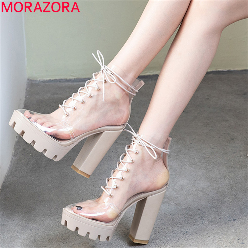 MORAZORA 2019 newest ankle boots for women unique pvc transparent summer boots Street style high heels