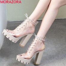 MORAZORA 2019 חדש קרסול מגפי נשים ייחודי pvc שקוף קיץ מגפי רחוב סגנון גבוהה עקבים פלטפורמת נעלי אישה