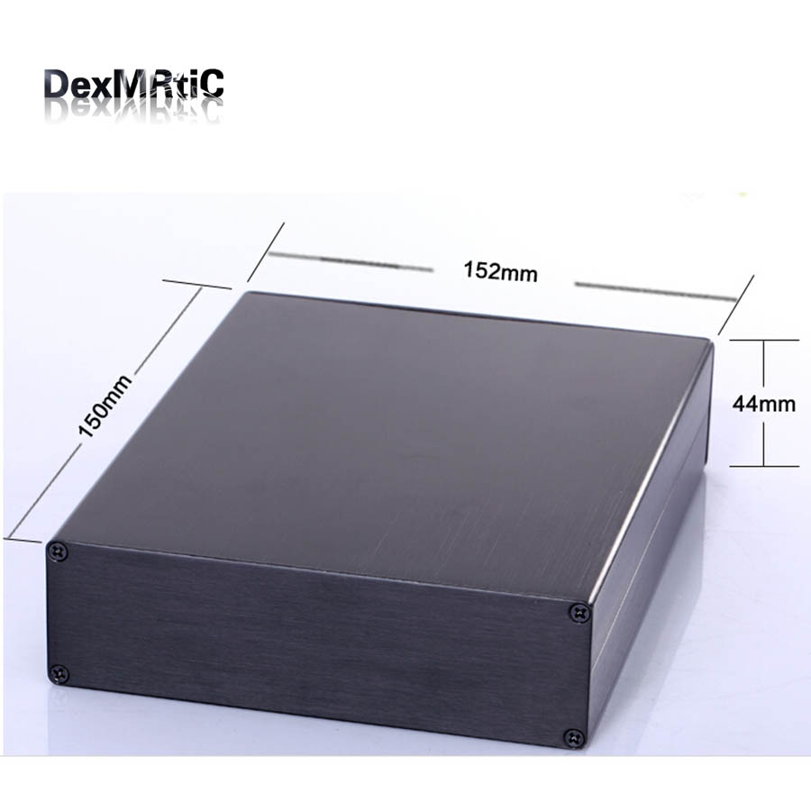 Aluminum enclosure project power shell box 152(5.98)X44(1.73)X150(5.9)mm DIY black NEW wholesale e cap aluminum 16v 22 2200uf electrolytic capacitors pack for diy project white 9 x 10 pcs
