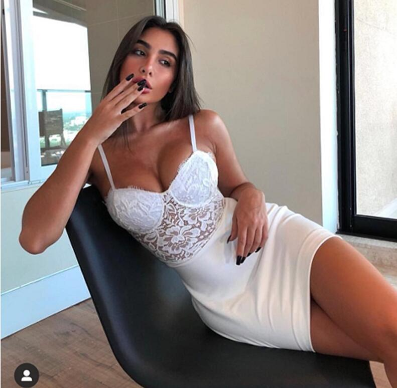 Бесплатная доставка, летнее модное сексуальное Белое Кружевное Бандажное платье с v образным вырезом, дизайнерское элегантное вечернее платье для вечеринки 2020|Платья|   | АлиЭкспресс