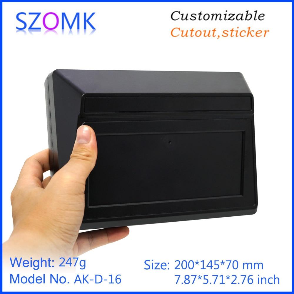 1 Piece 200*145*70mm Szomk New Plastic Box Electronics Desktop Enclosure For Pcb Device Housing Black Plastic Junction Box