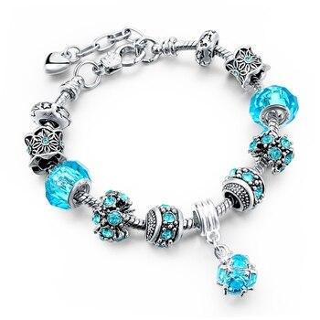 Women's Tibetan Silver Charm Bracelet Bracelets Jewelry Women Jewelry Metal Color: 292 blue