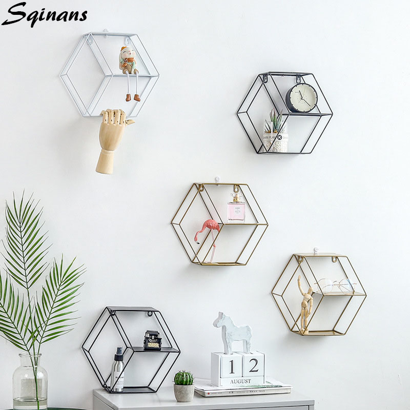 Hexagon Wall Shelf Modern Wall Hanging Nordic Shelf Metal Wall Decor Geometric Figure Art Decorative Wall Shelf For Living Room