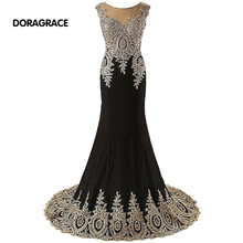 robe de soiree Elegant Applique Beaded Black Mermaid Designer Evening Dresses Formal Long DGE038