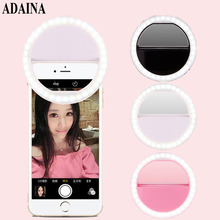 ADAINA DC 3V 32 LED Flawless Lighting Selfie Ring Fill Light for all Pad Smart Phones Black,White,Pink, Battery Operated