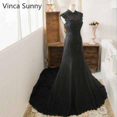 Sexy Black   Evening     Dresses   Mermaid Long Beading Real Photo Sexy High Neck Lace Prom Party Gowns Robe de Soiree