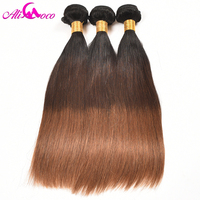 Ali Coco Brazilian Straight Hair Weaves 1/4/30 Color 100% Human Hair 3/4 Bundles 14 28 Inch No Remy Hair Extension Double Weft