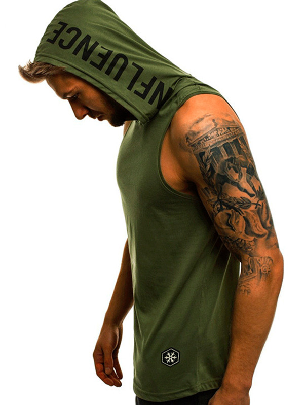 2019 Men Fitness Hoodies   Tank     Top   Sleeveless Bodybuilding Tee Shirt Stringer Male Slim Workout Hooded Sportswear Breathable Vest
