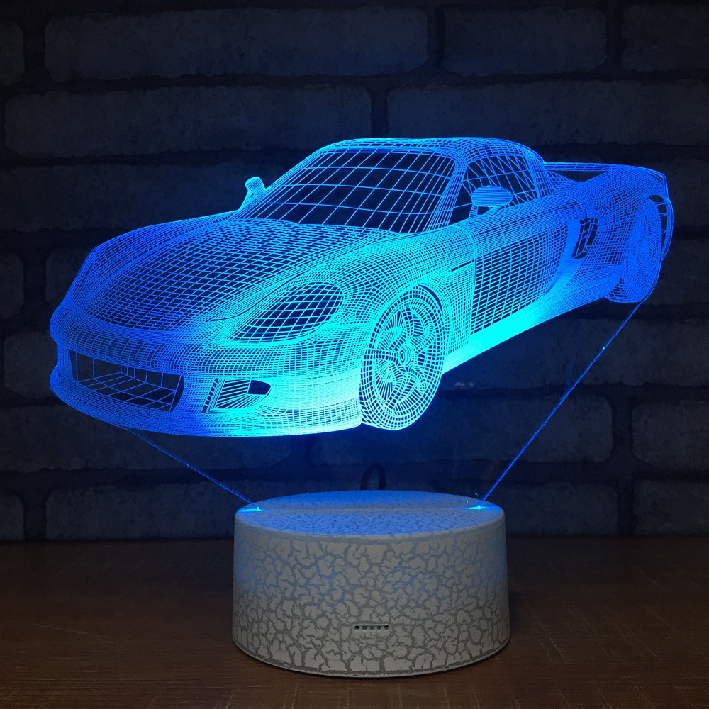 Cool Racing Sports Car 3D Night Light 7 color change Table Desk Lamp Cartoon Figure Children Bedroom Lighting For children gift creative tractor 3d visual lamp 7 colors changing acrylic car night light for children bedroom home xmas gifts desk lighting