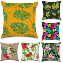 Tropical plant bird leaf flower bird decoration for home shop seat cushion cover Pillow case Chair sofa kids friend gift present deadpool movies comic printed cushion cover party decoration for home house sofa chair seat pillow case kids gift friend present