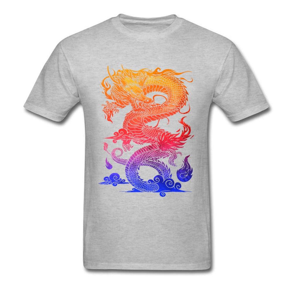Прочный Шарм Новые мужские футболки Красочные Спортивные футболки китайский дракон и ткань одежда черные рубашки - Цвет: Gray
