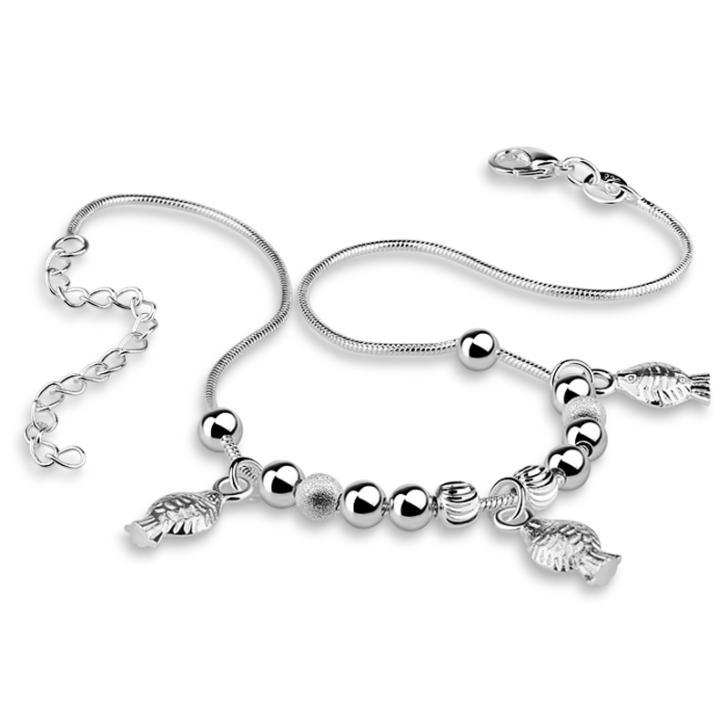New fashion silver fish pendant woman anklets.Solid 925 measures chain anklets.Cute girl silver anklets.Charming lady jewelry