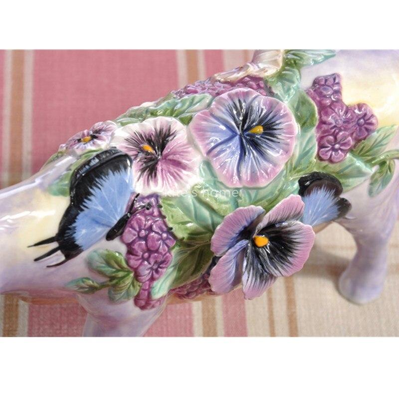 Flores Vaca Gado Touro Estatueta de Cerâmica