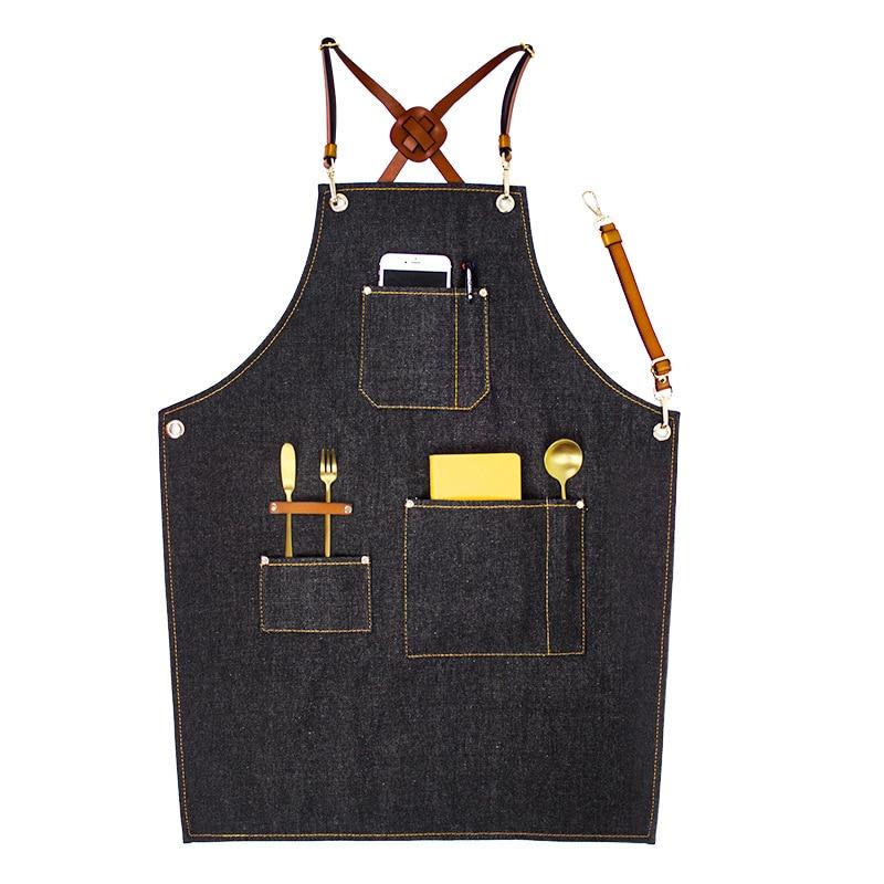Cozinha que Cozinha o Avental com Ajustável Cinta de Algodão Denim Grandes Bolsos Azul Homens e Mulheres Homewear Barista - 5
