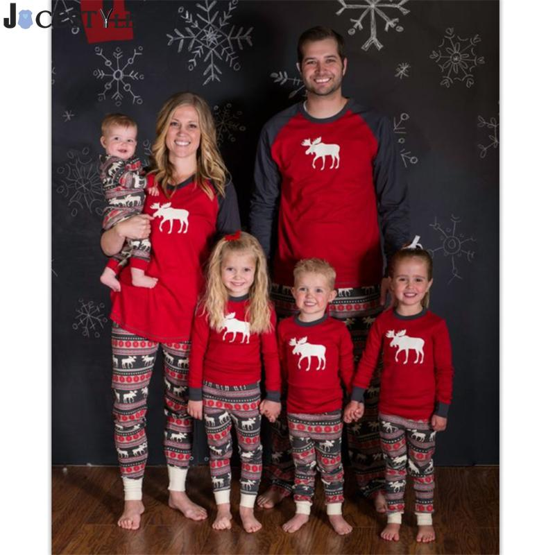 JOCESTYLE Christmas Family Matching Clothing Deer Printed family christmas pajamas Parents Children Clothes Home family look
