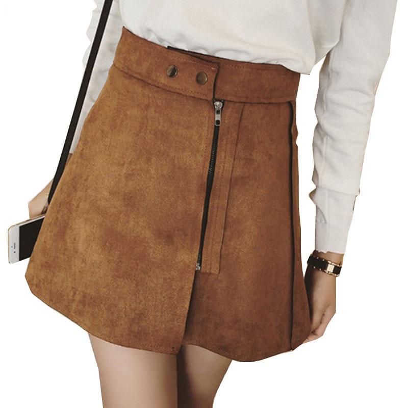 Nueva moda de gamuza faldas de las mujeres 2017 de verano Saias cintura alta una palabra falda cremallera oblicua Mini falda elegante Jupe Faldas femeninas