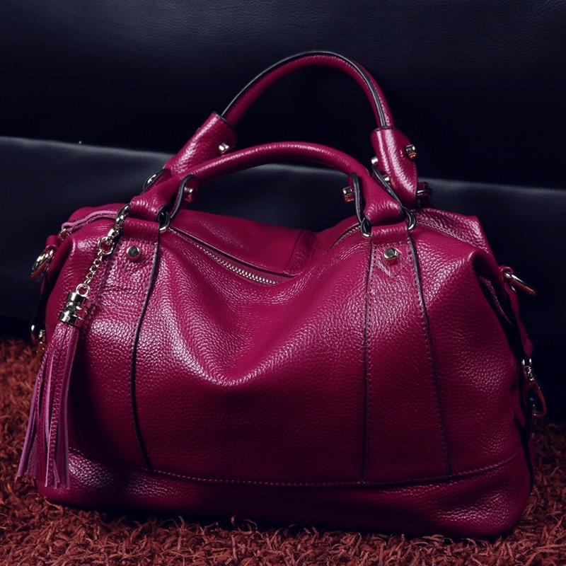 100 Genuine Leather Bag Women Messenger Trapeze Bags Ladies handbags Big Capacity Pocket Luxury Female Tote