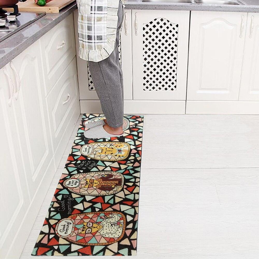 yazi Flannel Cartoon Cat Kitchen Rug Runner Bedroom Area Carpet Mat ...