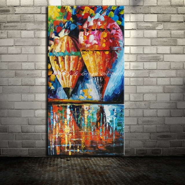 Hot Sale Abstract HandPainted Knife Hot Air Balloon Oil Painting On Canvas Home Decoration Modern Wall Picture For Living Room