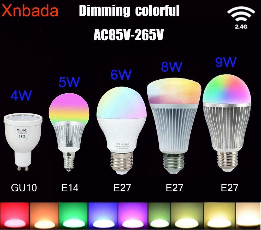 Mi.light 2.4G Led Bulb,GU10 E14 E27 AC85-265V Led Ls