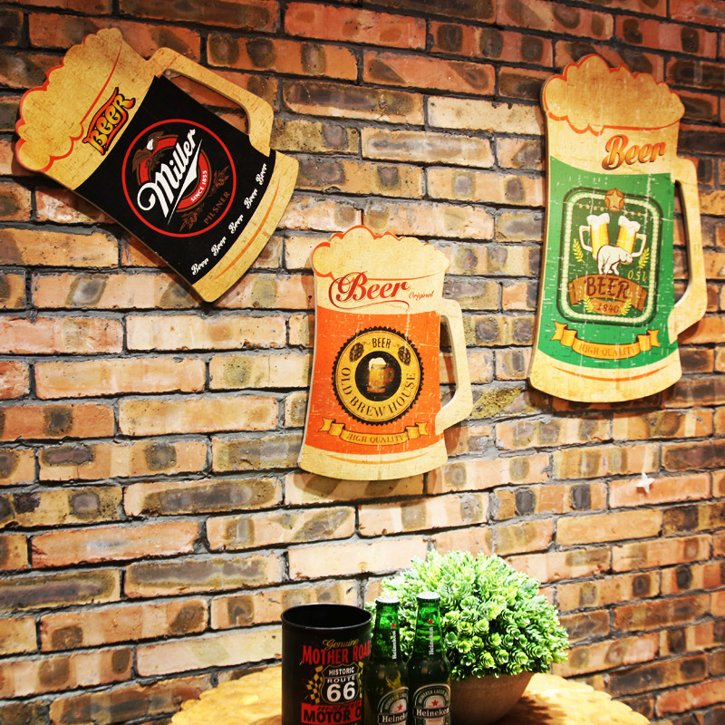 American Retro Creative Beer Cup Wood Painting WALL Hanging Plate ...