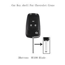 LARATH Flip Folding Key Shell for Chevrolet Cruze Remote Key Case Keyless Fob 3 Button Uncut HU100 Blade for Chevrolet 2010-2013