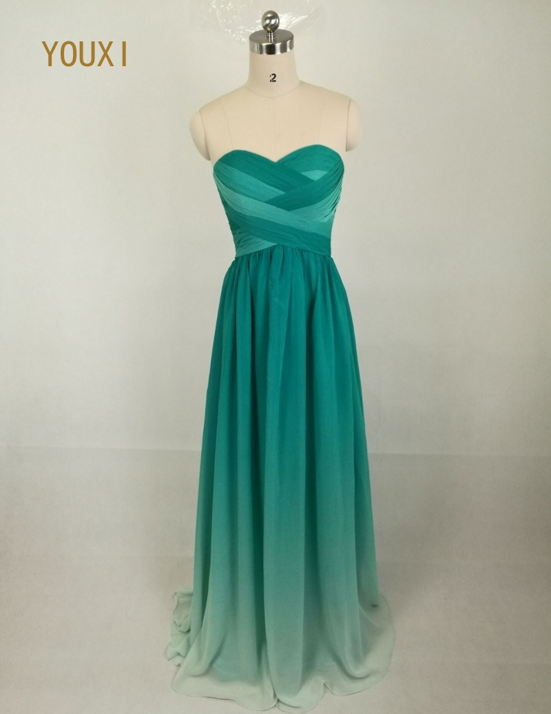 Top Selling Sweetheart Pleat Gradient Ombre Green Prom Dresses 2017 ...