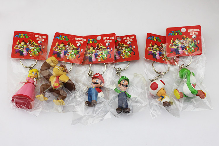 Free Shipping 10set lot Super Mario Bros Action Figure keychain with tag 6pcs set 3 7cm