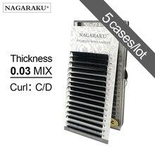 NAGARAKU 5 حالات 0.03 مللي متر C D 16 صفوف/كيس 7 ~ 15 مللي متر مزيج قسط الطبيعية الاصطناعية المنك الفردية رمش تمديد يشكلون maquiagem