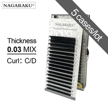 NAGARAKU 5 przypadków 0.03mm C D 16 rzędów/case 7 ~ 15mm mix premium naturalne syntetyczne norek indywidualne przedłużanie rzęs makijaż maquiagem
