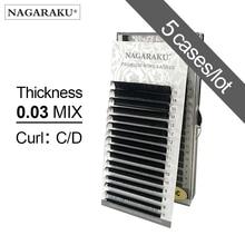 Nagaraku 5 Gevallen 0.03 Mm C D 16 Rijen/Case 7 ~ 15 Mm Mix Premium Natuurlijke Synthetische Nertsen individuele Wimper Extension Make Up Maquiagem