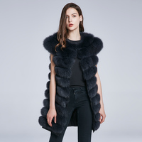 Winter women's natural fur vest fox fur coat female leather vest fox leather collar stripes inclined hot fashion 2018 new