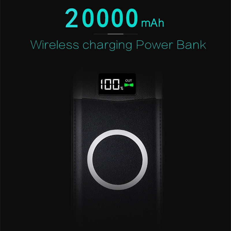 2018 NEW wireless Power Bank Dual USB Power Bank 20000mAh wireless charger Powerbank Bateria External Portable with LED Light