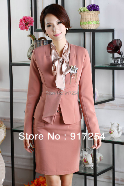 New 2015 Autumn Winter OL Uniform Career Formal Skirt Suit Jacket + Skirt with Corsage For Office Lady Business Women Plus Size