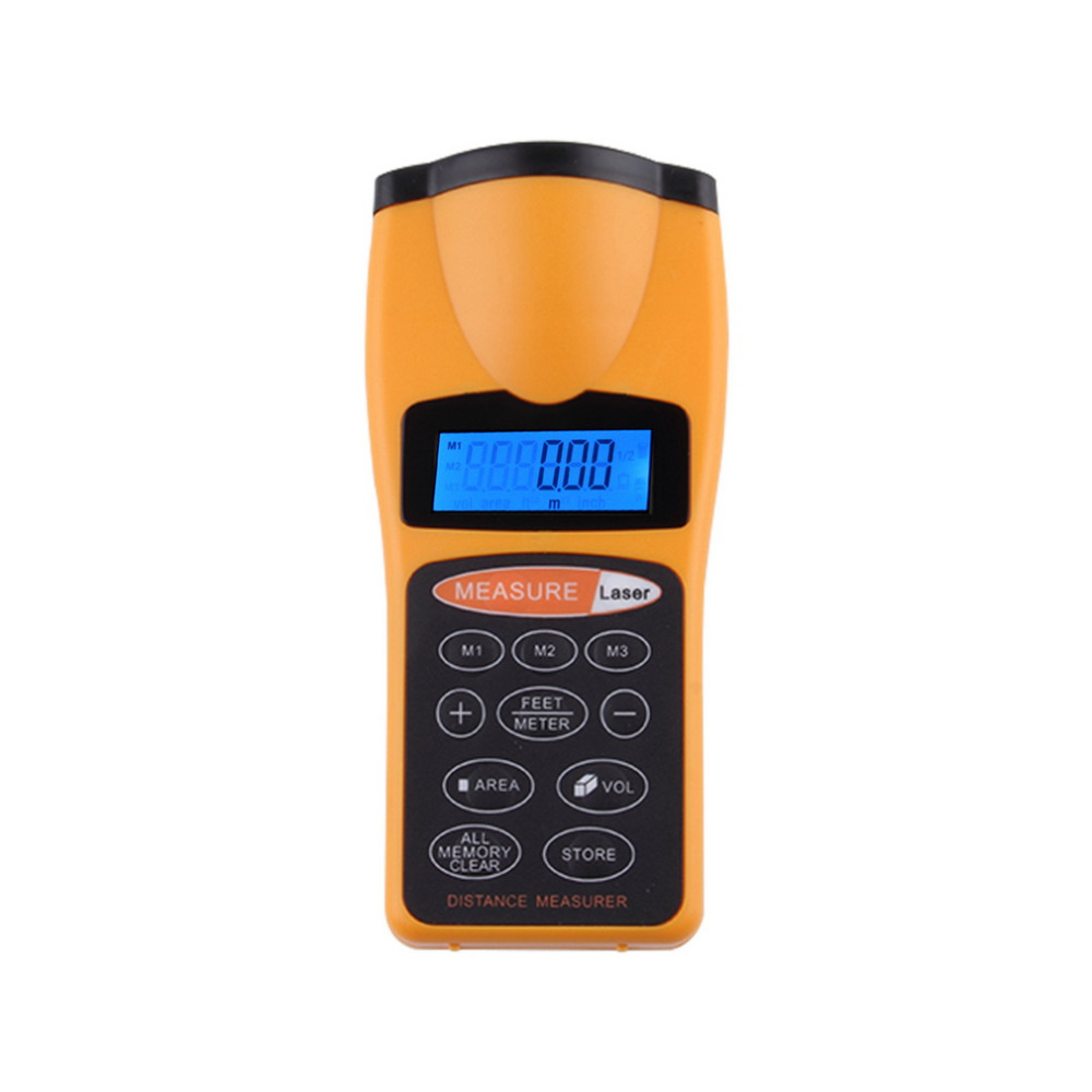Digital LCD Ultrasonic Distance Measure Tape Measure Meter Laser Designator Point Rangefinder Area Calculator Laser Pointer