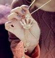 Accesorios de lujo de corea corona del rhinestone colgante collar largo suéter de las mujeres al por mayor collier femme/sin cuello/colar/collana