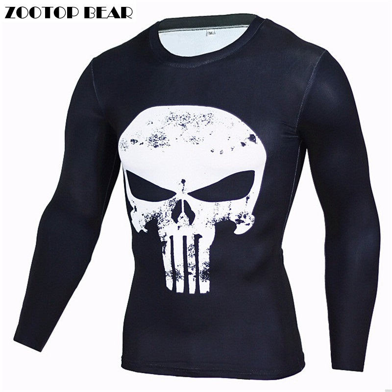 Punisher T-shirts Compression Men T shirts Autumn Long Sleeve Fitness Crossfit Tight Tops Superhero Camisetas 2017 ZOOTOP BEAR