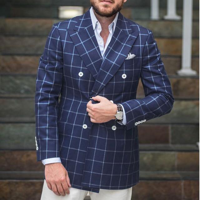 853dd3a9b293e New Arrival Mens Checkered Suit Windowpane Fashion Men Suits Custom  Made