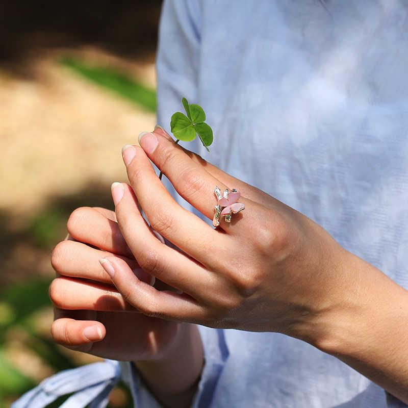 Lotus Vui Thật Nhẫn Bạc 925 Tự Nhiên Ban Đầu Thiết Kế Mỹ Trang Sức Bướm Dễ Thương Trên Chi Nhánh Mở Nhẫn Cho Nữ