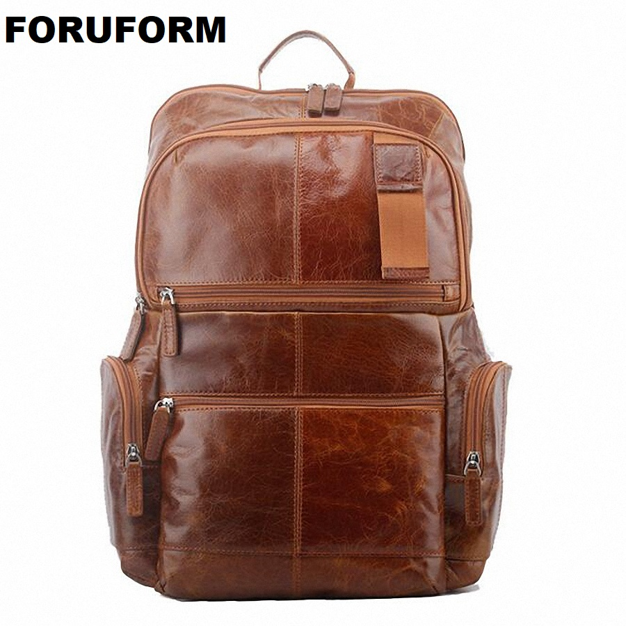 ForUForM Brand Genuine Leather Men Backpack Bags Large Men Travel Bag Luxury Designer Leather School Bag Laptop Backpack LI-1738 marrant genuine leather backpacks men shoulder bag men bag leather laptop bag 15 inch men s luggage travel bags school backpack