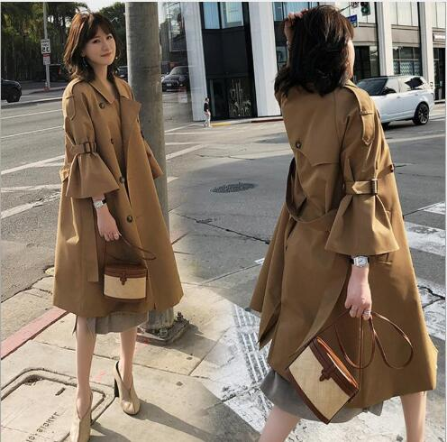 White Trench 2018 Greige Casual Cloche Slim khaki Long Fr1091 Turn Manteau Outwear Down Printemps Style Manches Fit Collar Tranchée Mode Femmes Femme rRqHXRPfw
