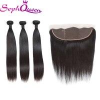 Soph Queen Hair Brazilian Straight Hair Bundles With Closure Virgin Hair Bundles With Closure 100% Human Hair Weave Extensions